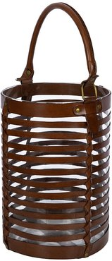 Leather Caged Glass Hurricane - Tan