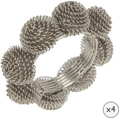 Domed Wire Napkin Rings - Set of 4 - Silver