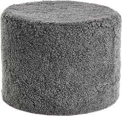 Short Wool Curly Pouf - Graphite