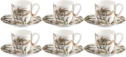 Tropical Flower Coffee Cup & Saucer - Set of 6
