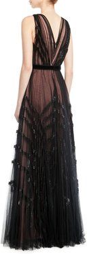 V-Neck Sleeveless Pleated Embellished Tulle Evening Gown