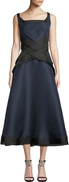 Sleeveless Fit-and-Flare Silk Gown