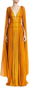 Deep-V Cape-Sleeve Fitted-Waist Colorblock Draped Evening Gown