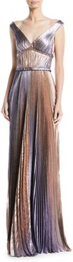 V-Neck Empire-Waist Pleated Metallic Evening Gown