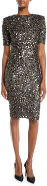 Hand-Embroidered Sequin Short-Sleeve V-Back Body-Con Cocktail Dress
