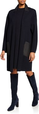 Cashmere Open-Front Leather-Trim Sweater