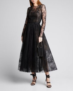 Long Sleeve Lace Illusion Cocktail Dress