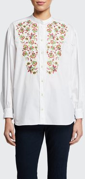 Embroidered Balloon-Sleeve Peasant Blouse