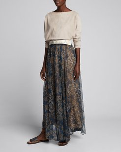 Printed Chiffon Pull-On Maxi Skirt