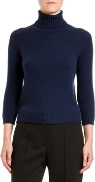 Cashmere Elbow-Patched 3/4-Sleeve Sweater