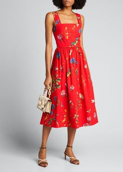 Sleeveless Floral Midi Cocktail Dress