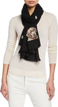 Golden Retriever Embellished Cashmere-Blend Scarf