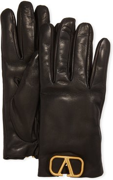 VLOGO Leather Gloves w/ Cashmere Lining