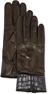 Cashmere-Lined Napa Leather Gloves w/ Croc Embossed Cuffs
