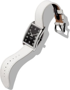 44x30 Pebble-Leather Large Watch, Black/Gray