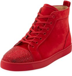 Louis Suede High-Top Sneakers with Crystal Embellishments