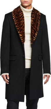 Solid Overcoat w/ FF-Print Fur Collar