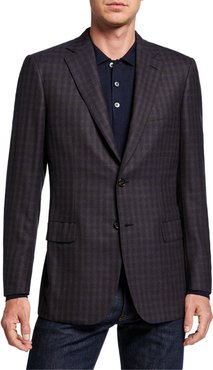 Two-Tone Check Two-Button Jacket