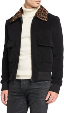 FF Shearling-Collar Jacket