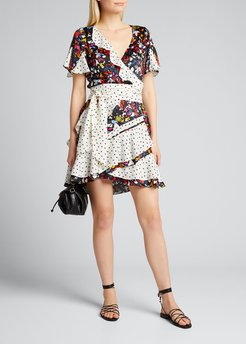 Bianka Mixed-Print Ruffle Wrap Dress