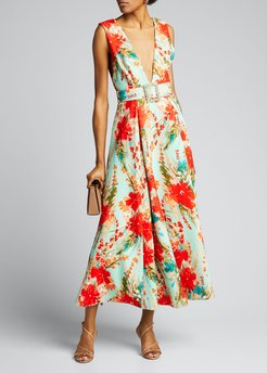 Floral Mikado Sleeveless Belted Dress