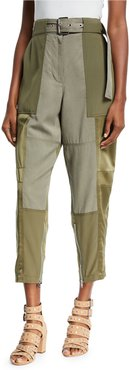 Belted Patchwork Cargo Pants