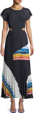 Keitha Pleated Flutter-Sleeve Maxi Dress