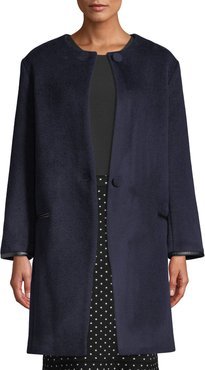 Gabita Collarless Two-Button Wool Coat