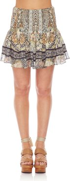 Shirred Floral-Print Smocked Mini Skirt