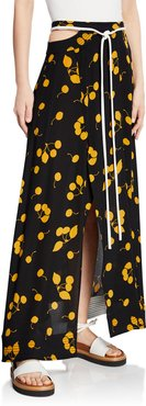 Printed Maxi Skirt with Cutout