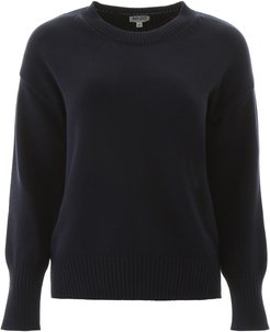 PULLOVER WITH LOGO INTARSIA XS Blue Cotton