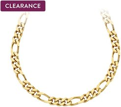 22 Figaro Polished Necklace in 14K Yellow Gold-Plated Bronze