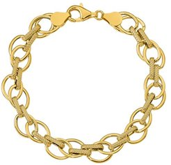 Polished & Textured 7.5 Fancy Link Bracelet in 14K Yellow Gold