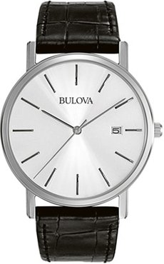 37mm Men's Bulova Classic Ultra-Slim Dress Watch with Silver Dial and Black Leather Bracelet