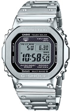 49mm Men's Casio G-Shock Digital Watch with Black Dial and Silver-Tone Bracelet