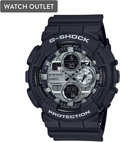 51mm Men's Casio G-Shock Watch with Silver-Tone Dial and Black Strap