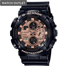 51mm Men's Casio G-Shock Analog-Digital Watch with Rose Gold-Tone Dial and Black Resin Strap