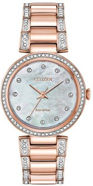 Ladies' 28mm Citizen Eco-Drive® Silhouette Watch with Mother-of-Pearl Dial