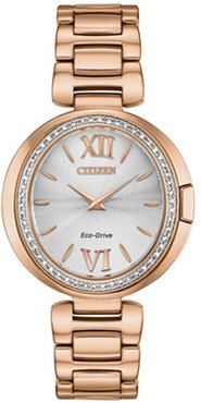 34mm Ladies' Citizen Eco-Drive® Capella Watch with White Dial and Rose Gold-Tone Bracelet