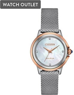 32mm Ladies' Citizen Eco-Drive CECI Watch with White Mother-of-Pearl Dial and Silver-Tone Bracelet