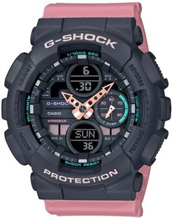 46mm Ladies' Casio S-Series G-Shock Watch with Black Dial and Pink Strap