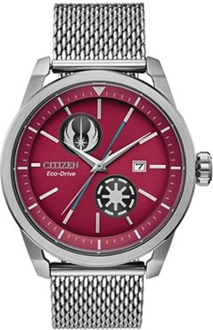 45mm Men's Citizen Eco-Drive® Star Wars™ Watch with Red Dial and Silver-Tone Mesh Bracelet