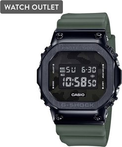 43mm Men's Casio G-Shock Digital Watch with Camo Print Dial and Green Strap