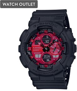 51mm Men's Casio Adrenalin G-shock Analog-Digital Watch with Red Dial and Black Resin Strap