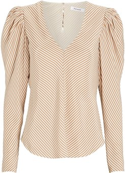 Shirred Striped Silk Blouse, Beige/White M