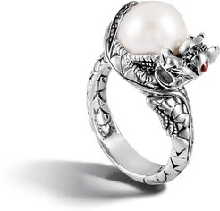 Legends Naga Center Stone Ring in Sterling Silver, Pearl and White Fresh Water Pearl