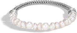 Classic Chain Bead Bracelet in Sterling Silver with White Fresh Water Pearl