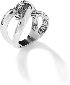 Classic Chain Knife Edge Ring in Sterling Silver
