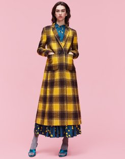 Vintage Print gend - Duster Coat Check Giallo/Nero 100% Wool