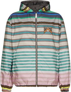Striped And Grey Nylon Reversible Hooded Jacket